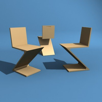 3d zig chair model