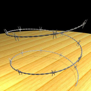 barbed wire fencing 3d model