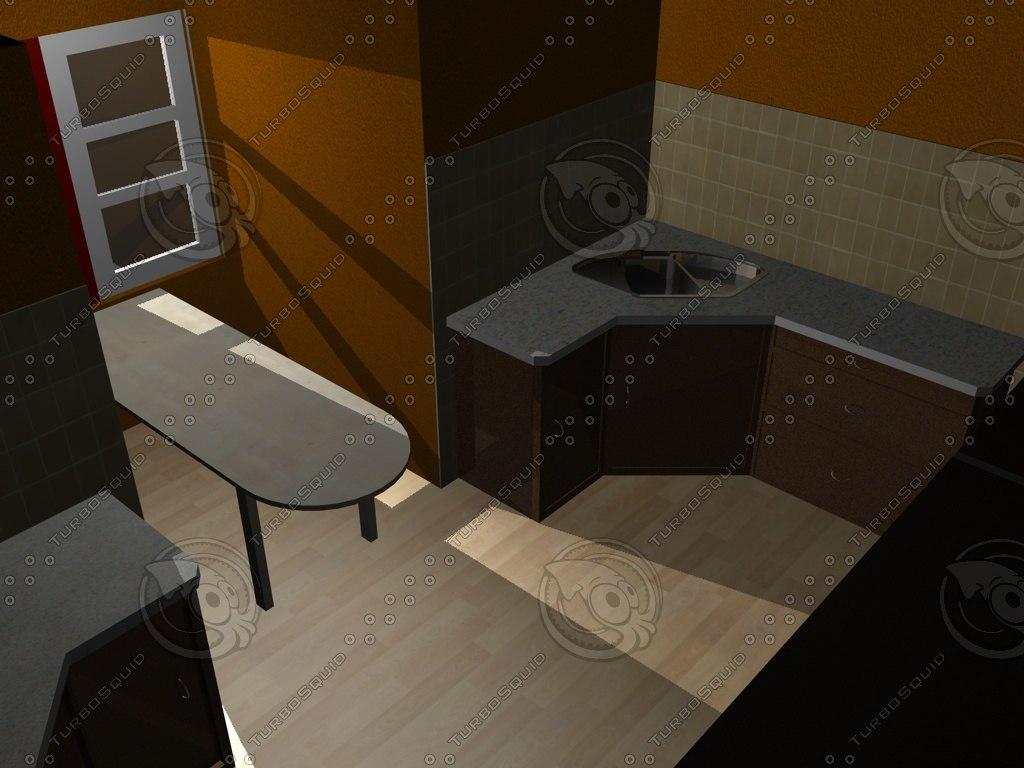 3d model kitchen table