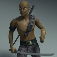 ninja fighter character 3d model