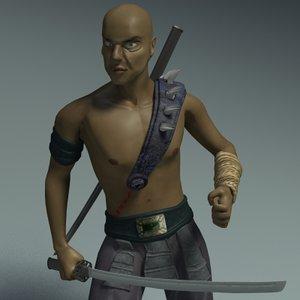 ninja fighter character 3d model