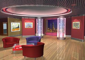 museum lobby environment 3d model