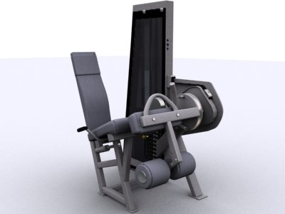 seated leg curl extension 3d model