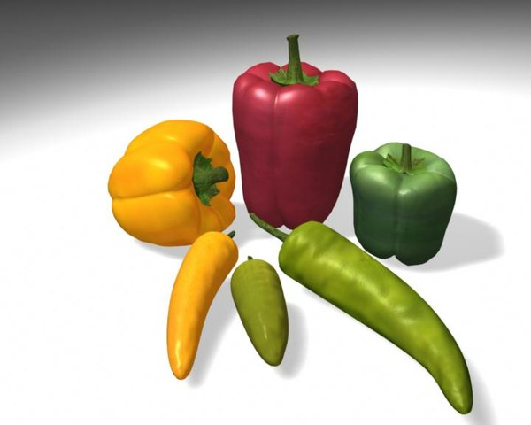 3d sweet peppers model