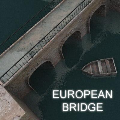 3d scene european bridge model