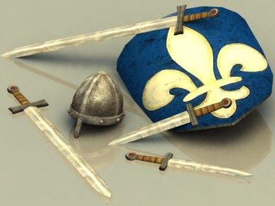 swords helmet 3d model