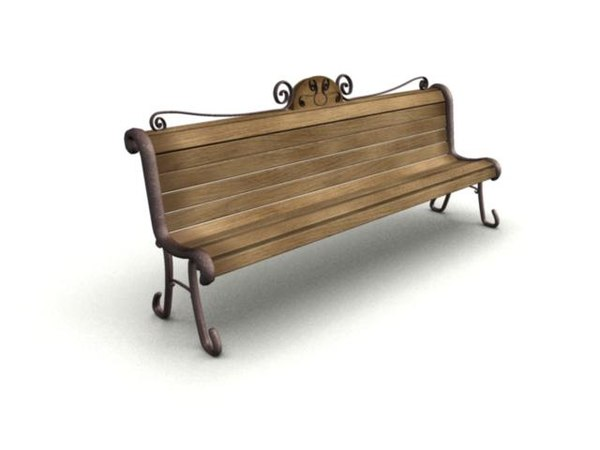 3ds wooden bench