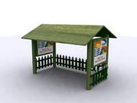 wood bus stop 3d model
