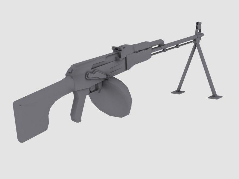 machine gun rpk-47 7 3d model