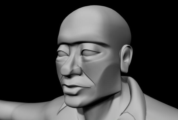 torso male character head 3d model
