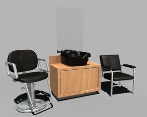 salon hair cut chair 3d model