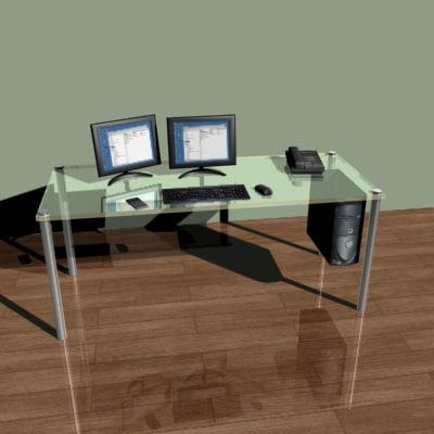 3d desk computer monitor