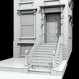 brownstone apartment building 3d model