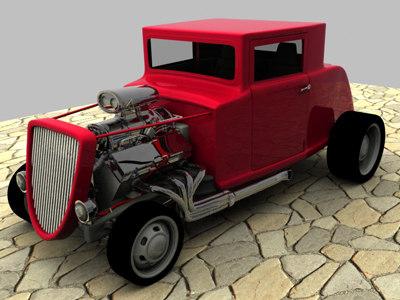 custom hot rod 3d model