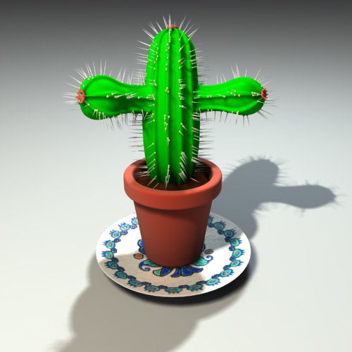 3d cactus pottery model