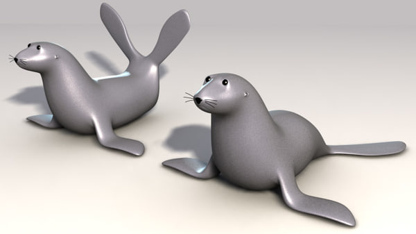 seals cartoon comic 3d model