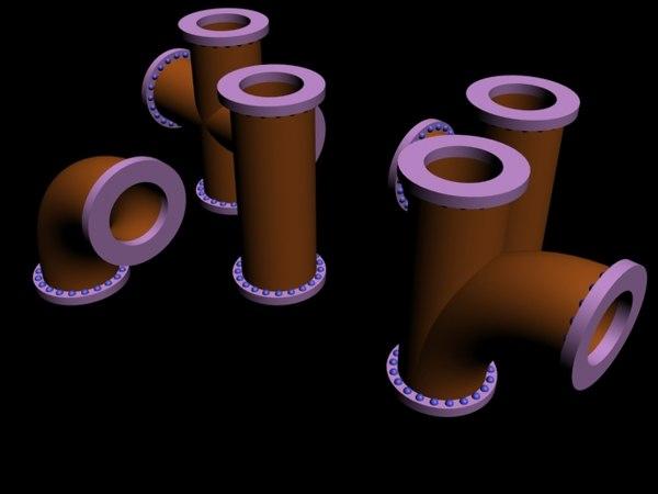 3d kit industrial pipeline pipe model