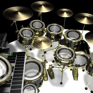 3d drumset drums model