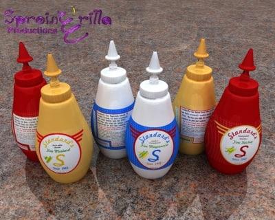 picnic ketchup mustard mayonnaise 3d 3ds