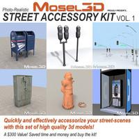 mailbox streetlights hydrant 3d model