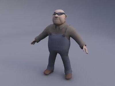 toon gangster cartoon 3d model