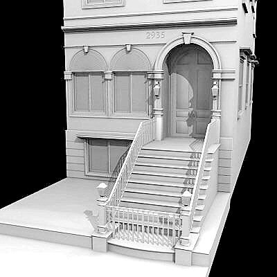 chicago brownstone 3d max