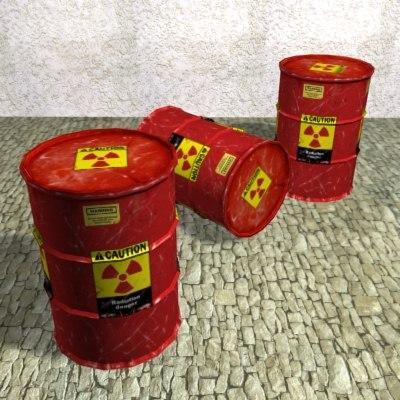 3d radioactive waste barrel