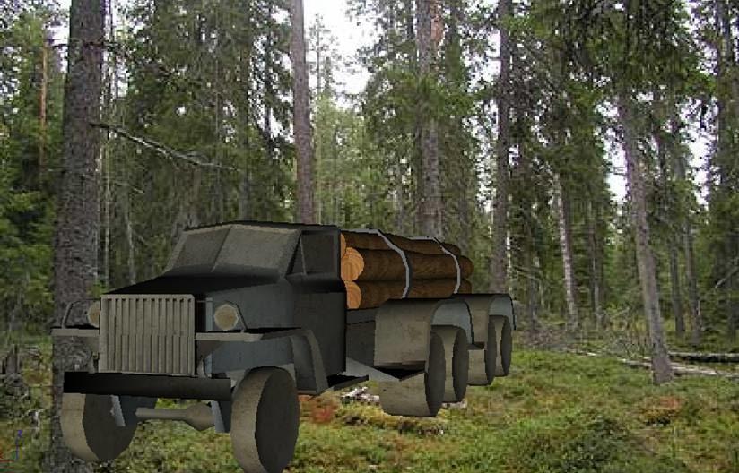 free logging truck 3d model