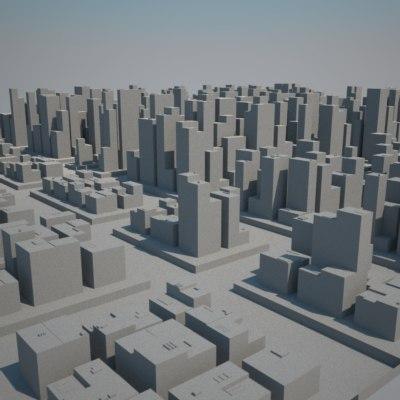 huge metropolitan cityscape buildings skyscrapers 3d model