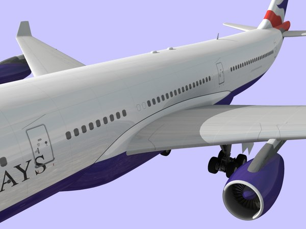 3d model british airways airbus 340