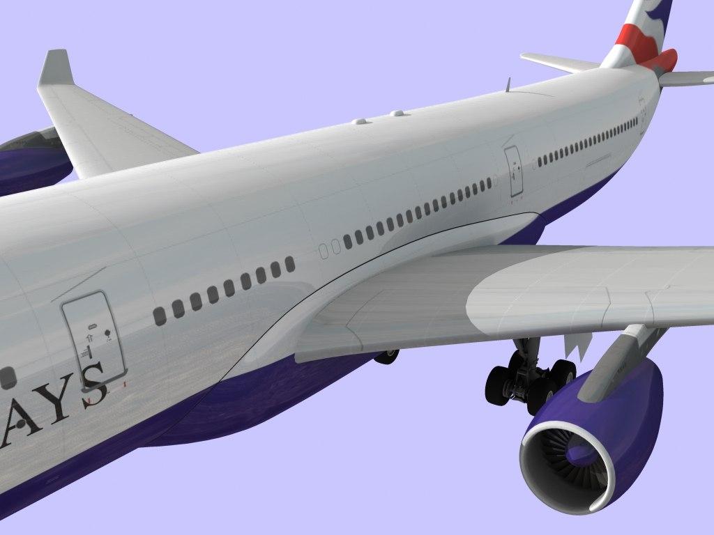 3d model british airways airbus 340