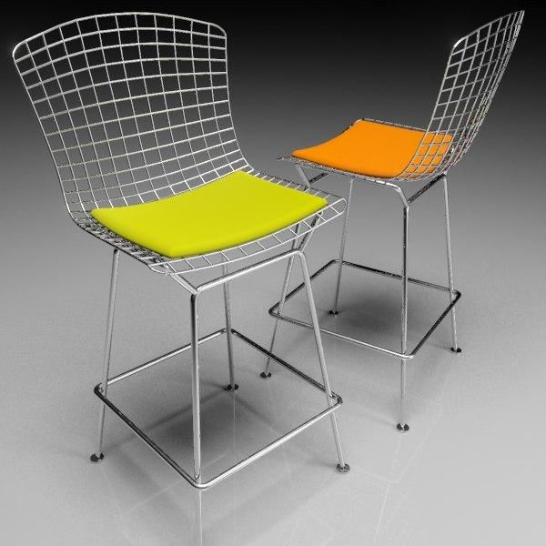 bertoia bar stool 3d model