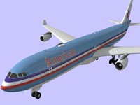 3d airbus 340 american airlines