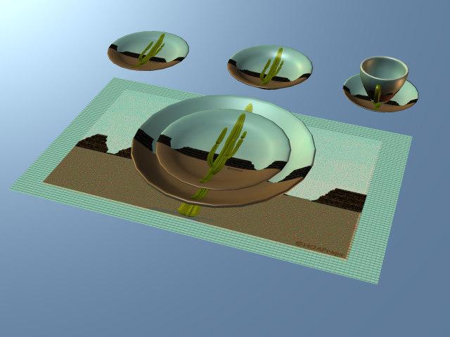3d cactus cup saucer plate model