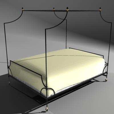 bed decorative metal frame 3d model