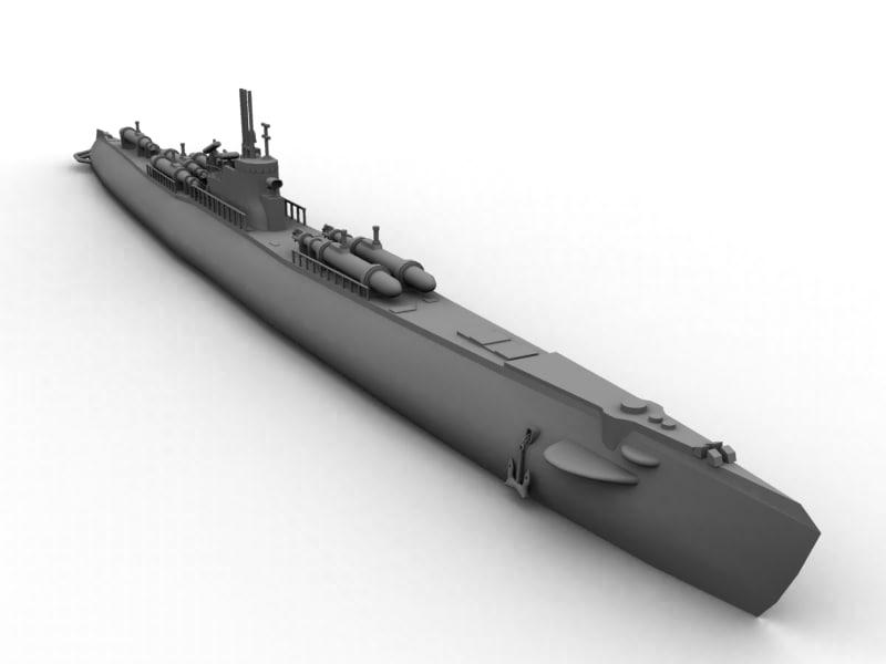 3d ww2 japanese submarine i-58