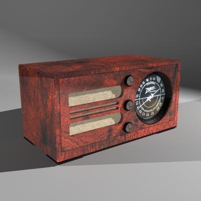 3d radio vintage zenith wood model