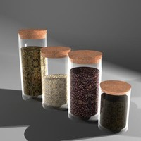 Textured Set of  4 Spice Jars