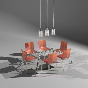 table set metal chair 3d model