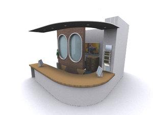 reception cabinet 3d max