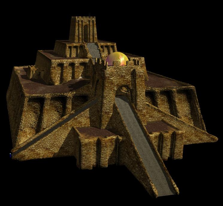 architecturally mesopotamian ziggurat ur 3d model