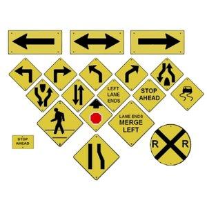 3d model road street signs