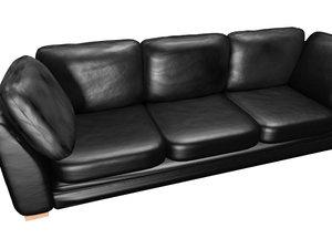 3d model black leather sofa