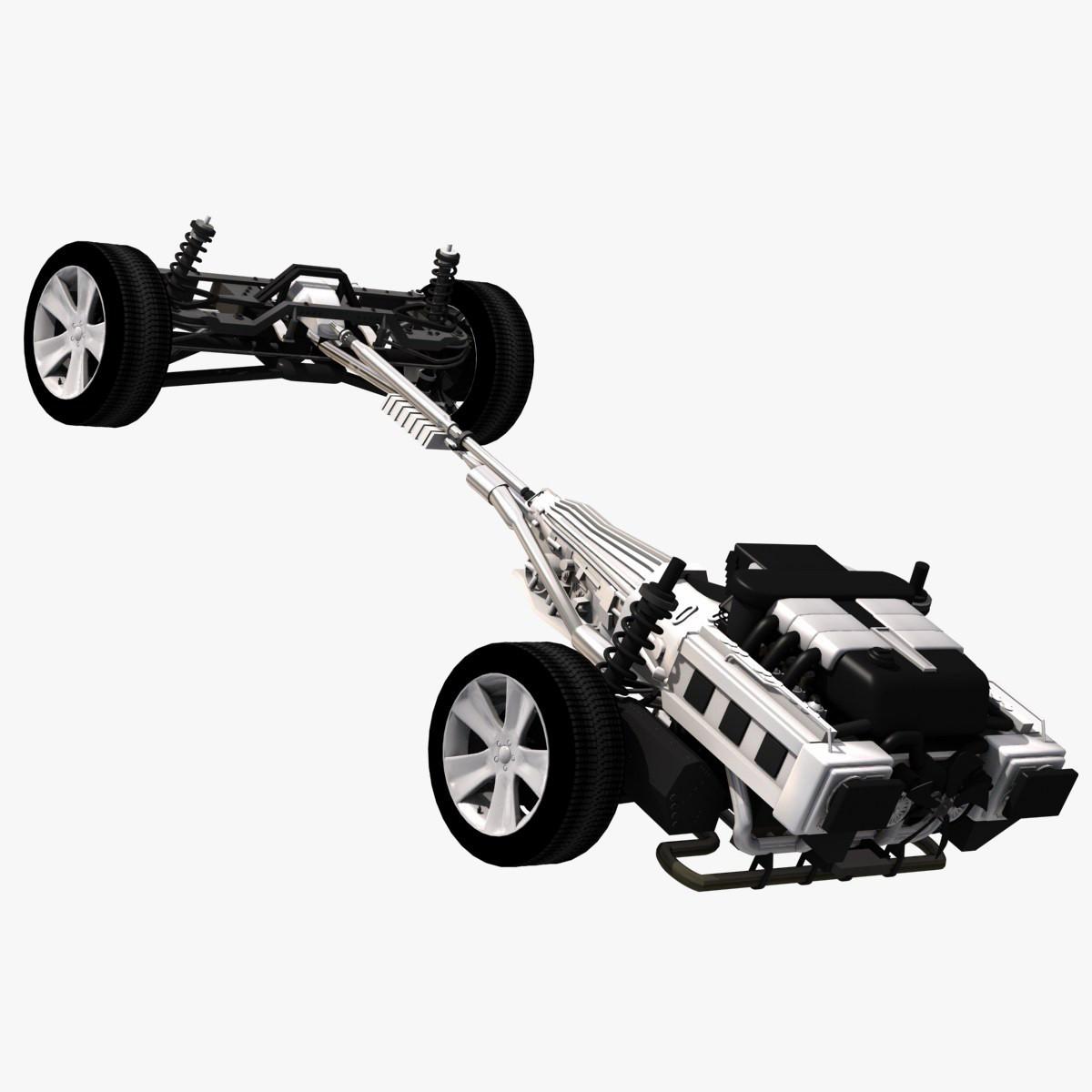 3d car drive train model