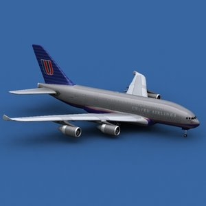 3d airbus a380-800 united airlines