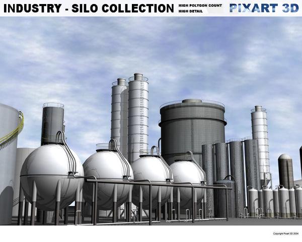 industrial silos 3d model
