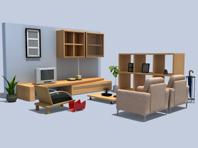 3d living room 2 sets model