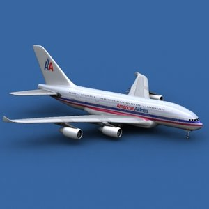 airbus a380-800 american airlines 3d model