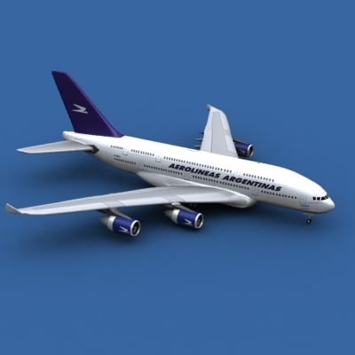 3d model airbus a380-800 aerolineas argentinas