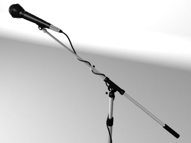 3d model microphone tri-leg boom stand